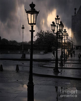 Paris Surreal Louvre Museum Street Lanterns Lamps - Paris Gothic Street Lamps Black Clouds Poster by Kathy Fornal