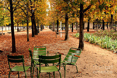 Paris Tuileries Gardens And Trees - Jardin Des Tuileries Gardens Parks Autumn - Paris Fall Autumn Poster by Kathy Fornal