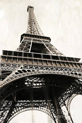 Paris Vintage Sepia Eiffel Tower Architecture - Eiffel Tower Sepia Fine Art Photography Poster by Kathy Fornal