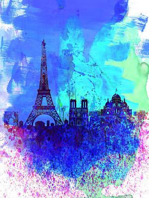 Paris Watercolor Skyline Poster by Naxart Studio