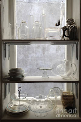 Paris Windows Kitchen Architecture - Paris Vintage Kitchen Window Ethereal Frosted Glass And Dishes Poster by Kathy Fornal
