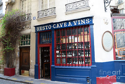 Paris Wine Shop Resto Cave A Vins - Paris Street Architecture Photography Poster by Kathy Fornal