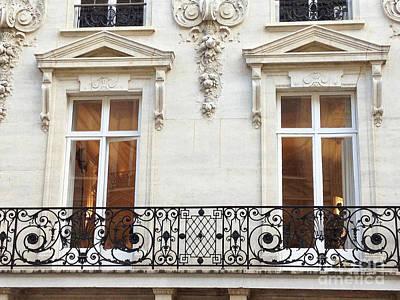 Paris Winter White Windows Lace Balconies - Paris Window Balcony Architecture Art Nouveau Art Deco  Poster by Kathy Fornal