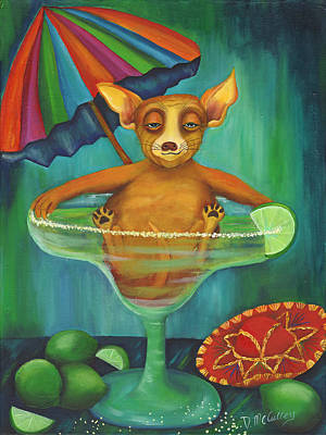 Party Animal  Ay Chihuahua Poster by Debbie McCulley