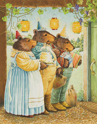 Party Bears Poster by Lynn Bywaters