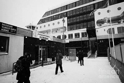 Passengers In A Snow Blizzard Return To The Hurtigruten Passenger Terminal Hammerfest Finnmark Norwa Poster by Joe Fox