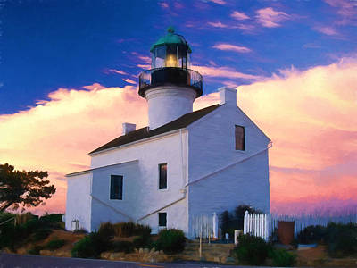 Pastel Drawing Old Point Loma Lighthouse Cabrillo National Monument California Poster by Elaine Plesser