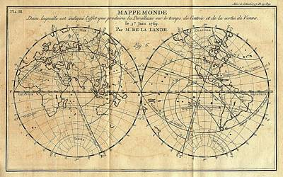 Path Of The 1761 Transit Of Venus Poster by American Philosophical Society