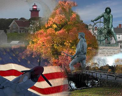 Patriotic Massachusetts Poster by Jeff Folger