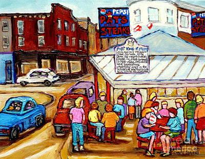 Pat's King Of Steaks Philadelphia Restaurant South Philly Italian Market Scenes Carole Spandau Poster by Carole Spandau