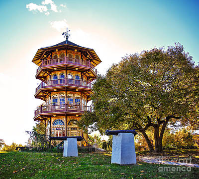 Patterson Park Pagoda Aglow  Poster by SCB Captures