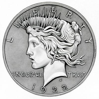 Graphite Peace Dollar Poster by Fred Larucci