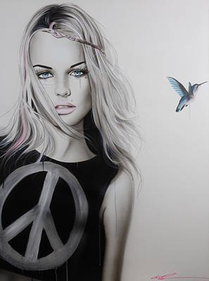 Portrait - ' Peace Love And Psychadelia ' Poster by Christian Chapman Art