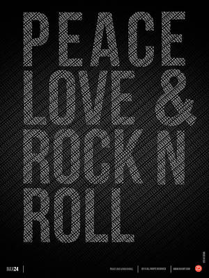 Peace Love And Rock N Roll Poster Poster by Naxart Studio
