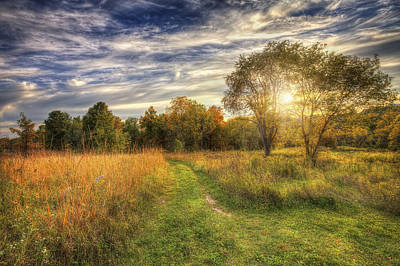 Peace On The Prairie - Fall Sunset At Retzer Nature Center In Waukesha Wisconsin Poster by The  Vault - Jennifer Rondinelli Reilly