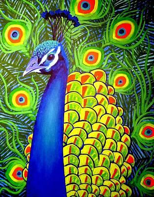 Peacock Vii Poster by John  Nolan
