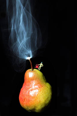 Pear And Smoke Little People On Food Poster by Paul Ge