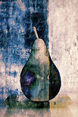 Pear In Blue Poster by Carol Leigh