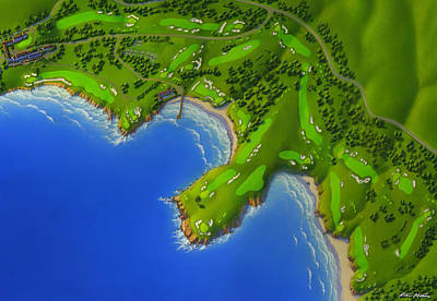 Pebble Beach Golf Course Poster by Robin Moline