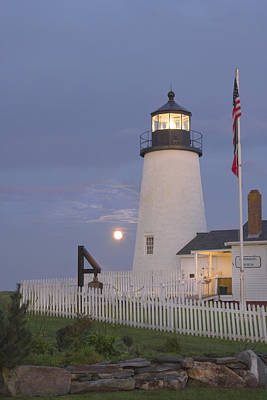 Pemaquid Point Lighthouse And Moon Maine Coast Poster by Keith Webber Jr