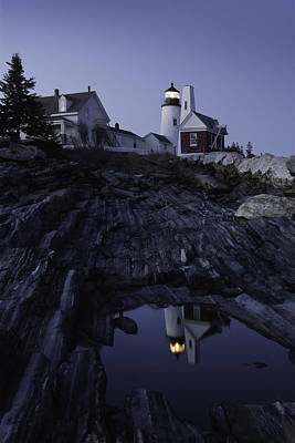 Pemaquid Point Lighthouse At Night In Maine Poster by Keith Webber Jr