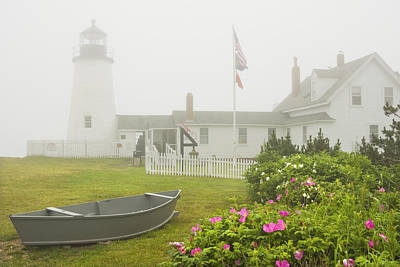Pemaquid Point Lighthouse In Fog Maine Prints Poster by Keith Webber Jr