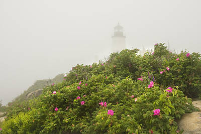 Pemaquid Point Lighthouse In Fog On The Maine Coast Poster by Keith Webber Jr
