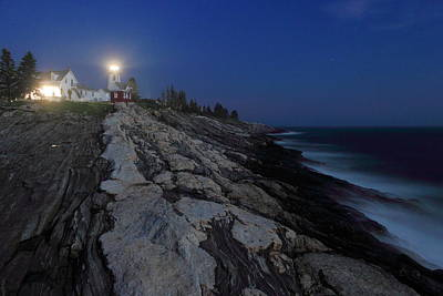 Pemaquid Point Lighthouse Moonlight Poster by John Burk