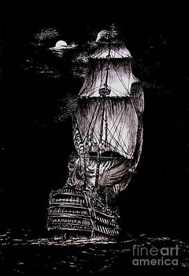 Pen And Ink Drawing Of Ghost Boat In Black And White Poster by Mario Perez