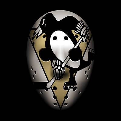 Penguins Goalie Mask Poster by Joe Hamilton