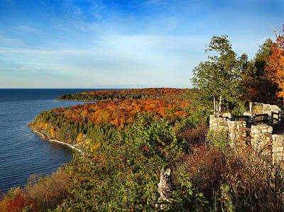 Peninsula State Park Lookout In The Fall Poster by David T Wilkinson