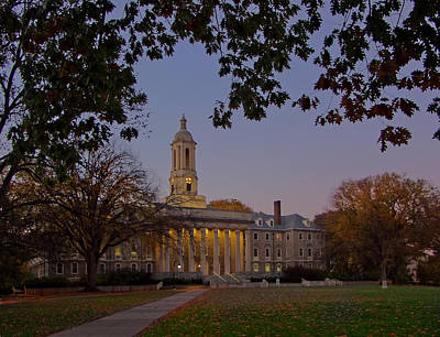 Penn State Old Main At Dusk Poster by William Ames