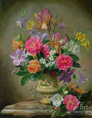 Peonies And Irises In A Ceramic Vase Poster by Albert Williams
