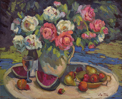 Peonies And Summer Fruit Poster by Diane McClary