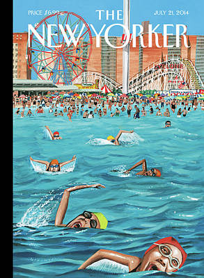 People Enjoying Themselves At Coney Island Poster by Mark Ulriksen