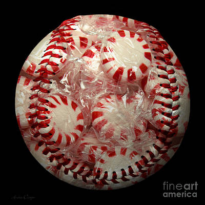 Peppermint Candy Baseball Square Poster by Andee Design