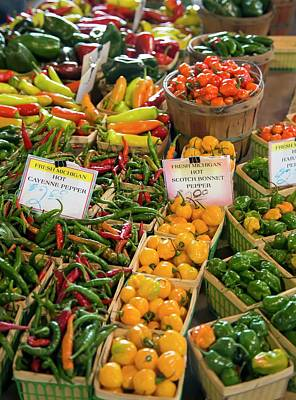 Peppers On A Market Stall Poster by Jim West