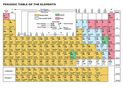 Periodic Table Of The Elements Poster by Dan  Cojo