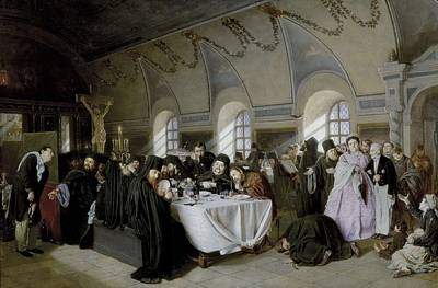 Perov, Vasily 1833-1882. The Refectory Poster by Everett