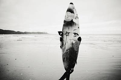 Person Holding Surfboard Poster by Helene Cyr