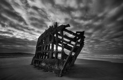 Peter Iredale Shipwreck Black And White Poster by Mark Kiver