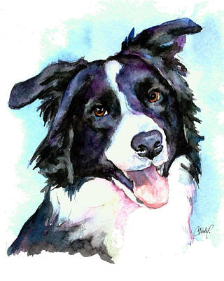 Petey Border Collie Poster by Christy  Freeman