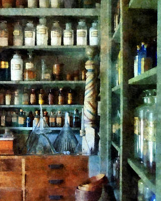 Pharmacy - Back Room Of Drug Store Poster by Susan Savad