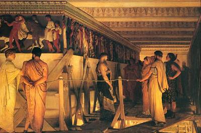 Phidias Showing The Frieze Of The Parthenon To His Friends Poster by Lawrence Alma-Tadema