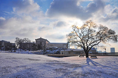 Philadelphia Art Museum And Waterworks In The Snow Poster by Bill Cannon