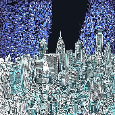 Philadelphia Map Panorama Poster by Bekim Art