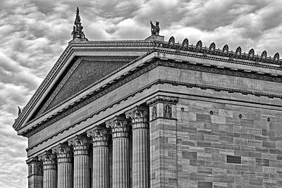 Philadelphia Museum Of Art Column Details Bw Poster by Susan Candelario