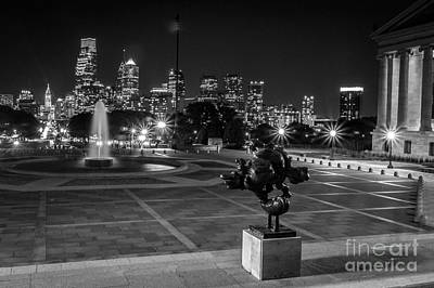 Philadelphia Skyline At Night Poster by David Rucker