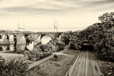 Philadelphia's Rock Tunnel - Kelly Drive In Sepia Poster by Bill Cannon