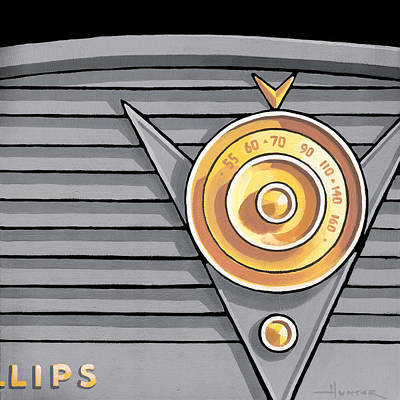 Phillips Radio - Gray Poster by Larry Hunter